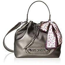 Love Moschino Unisex-Erwachsene Jc4032pp18lc0906 Handtasche, Eimerform, Grau (Fucile), 25x9x28 centimeters