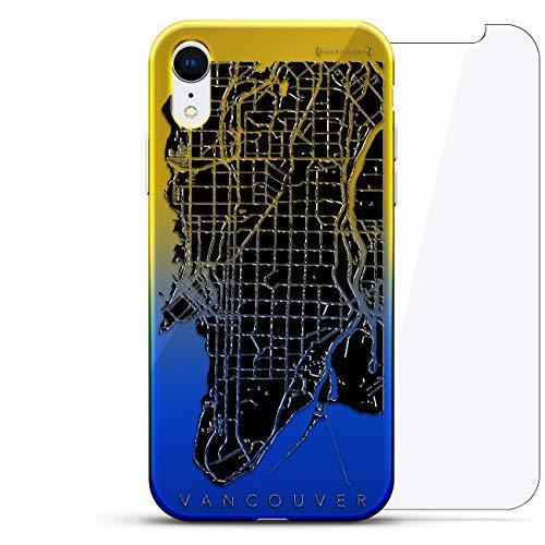 Luxendary Designer Schutzhülle für iPhone XR, 3D-Druck, modisch, hochwertig, Chamäleon-Effekt, 360 schützendes Glas, Dämmerungsblau Tamara, Karten: Vancouver, Straßenkarte, Blau (Dusk Blue)