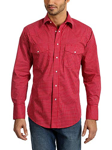 Wrangler Herren Wrinkle Resist Two Pocket Long Sleeve Snap Shirt Hemd, rot, X-Groß -