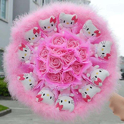 11 chats + 11 fleur artificielle rose Cartoon Bouquet fournitures de mariage