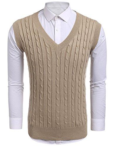 Argyle Pullover Mit V-ausschnitt (Coofandy Strickweste Pullunder Herren beiläufiger gestrickter Pullover Slim Fit Kabel Pullover Links-Weste)