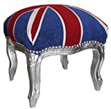Casa Padrino Barock Fußhocker Union Jack / Silber - Hocker Englische Flagge- Antik Stil England
