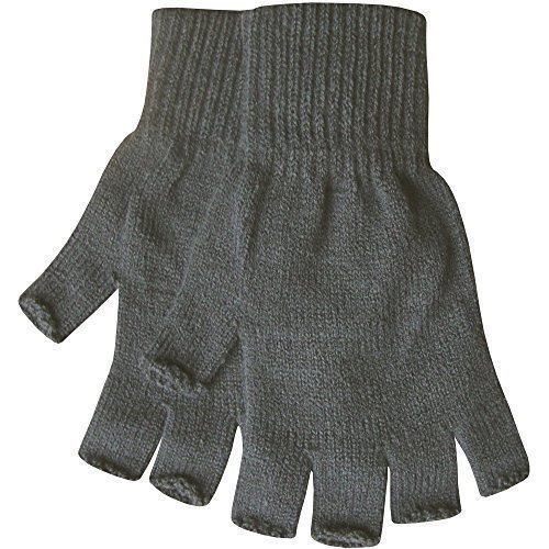 Herren Warm Thermo Strick Fingerlose Winterhandschuhe - grau