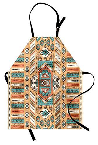 Soefipok Grembiule Tribale, Modello Etnico della tribù Azteca segreta in Stile Boemo Nativo Americano, Grembiule da Cucina Unisex con Collo Regolabile per cuocere al Forno, Albicocca e alzavola
