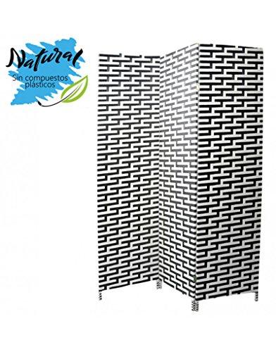 Biombo Separador de ambientes Blanco de Madera y Papel Trenzado 180 x