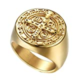 WIDG Herren Kreuz Christian Ring Klassische Runde Carbide Ring Bibel Vers Ehering Band, Golden, 7-13