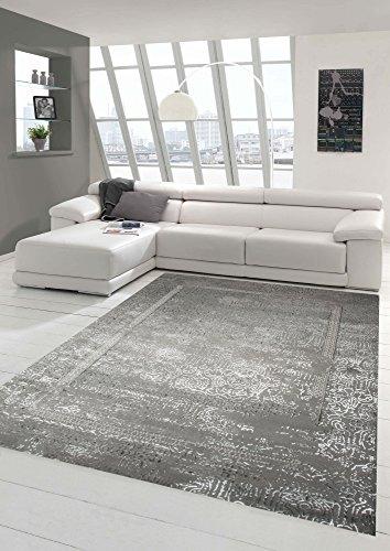 Alfombra de pelo corto de adornos de diseñador y alfombra moderna Oriente en plata gris Größe 80 x 300 cm