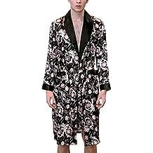 Batas Hombres Primavera Verano Vintage Esencial Sauna Silk Abrigos Manga Larga V-Cuello Estampadas Respirable