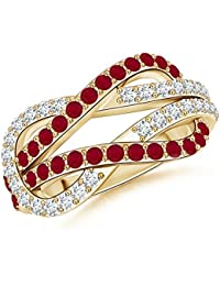 Encrusted Ruby and Diamond Infinity Knot Ring for Women (1.3mm Ruby)