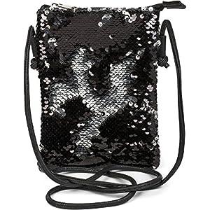 styleBREAKER Mini Bag Umhängetasche mit Wende-Pailletten, Schultertasche, Handtasche, Tasche, Damen 02012240