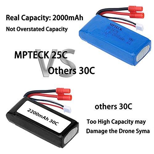 Mondpalast @ 2x Lipo Batterie Ersatz Akku 7,4V 2000mAh für RC Quadcopter Syma X8C X8W X8G Drone - 7