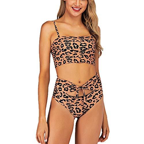 YAMEE Bikini Damen Set high Waist Push up Badeanzug Hohe Taille Bademode Schwimmanzug Léopard