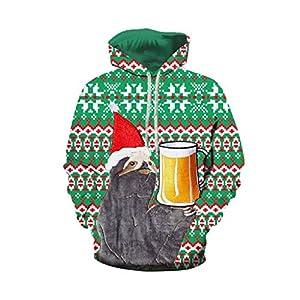 511g00IMa5L. SS300  - Christmas Hoodie Couple, UFODB Damen Herren Weihnachtspullover Lange ärmel Drucken Pullover Weihnachtsmann Schneemann Casual Loose Hoodies Sweatershirt Sweater Tops