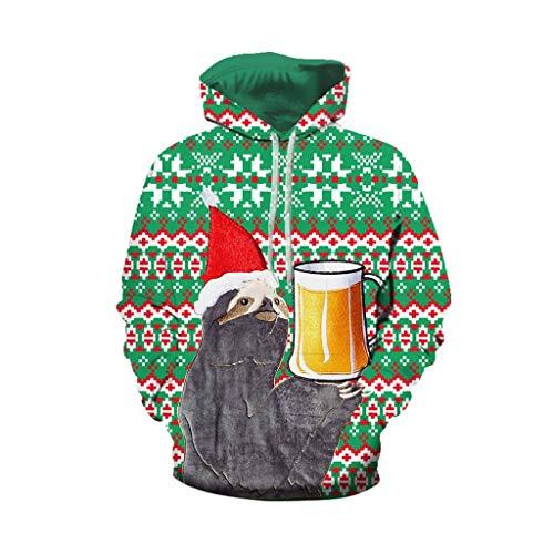 Christmas Hoodie Couple, UFODB Damen Herren Weihnachtspullover Lange ärmel Drucken Pullover Weihnachtsmann Schneemann Casual Loose Hoodies Sweatershirt Sweater Tops