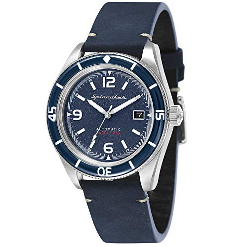 SPINNAKER Men's Fleuss 43mm Leather Band Steel Case Automatic Watch SP-5055-03