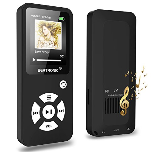 BERTRONIC Made in Germany BC01 Royal MP3-Player ★ bis 100 Stunden Wiedergabe ★ Radio | Portabler Player mit Lautsprecher | Audio-Player für Sport mit Micro SD-Kartenslot - Mit Mp3-player Shuffle