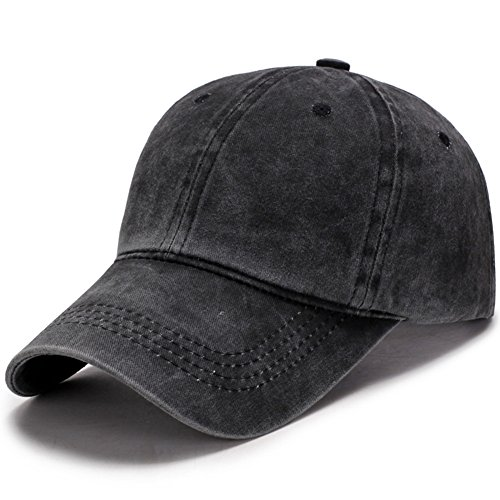 VGLOOK Unisex Men and Women Outdoor Washed Cotton Adjustable Baseball Caps  Dad Hat (Black) 69a2708afa69