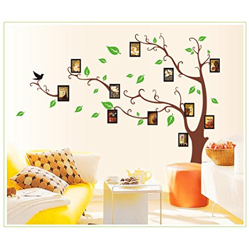 to Baum Wall Sticker Bilderrahmen Gefallene Blätter Links★ Abnehmbare Wandtattoo DIY Wand-Aufkleber-Wand-Dekor Prägeartiger (Braun, 90*60cm) (Braun 3d Schmetterling Wand-dekor)