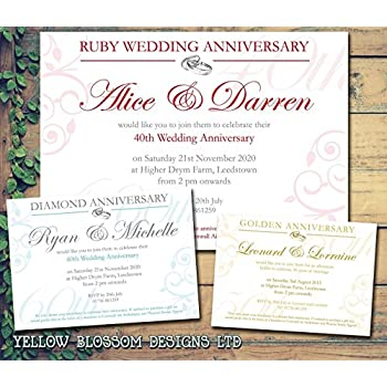 Diamond Wedding Anniversary Invitations Pack of 10 Amazoncouk