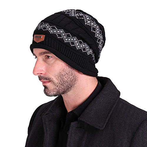 uleade-beanie-hat-knit-hat-winter-skull-wool-hat-windproof-for-men-women-black