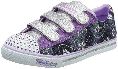 Skechers Mädchen Sparkle Glitz - Denim Daisy Sneaker, Blau, 34 EU (Boots Sparkle Kinder)