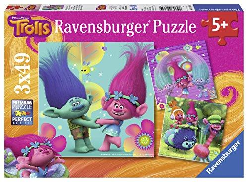 TROLLS Puzzles, 3 x 49 piezas