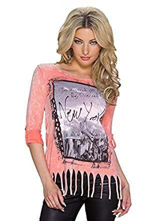 5884 Fashion4Young Damen Tailliertes Langarm-Shirt Top Foto-Print Glitzersteinchen Gr. 34/36/38 (34/36/38, Coral Multicolor)