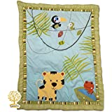 Jungle Theme 100% Cotton Super Soft Tiger Print Baby Quilt Babysheet And Pillowcase