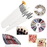 RUIMIO 15 pcs Nail Art Brushes, 12 Colors Nail Art Stickers, 30 colors Nail Tape and 3D Nail Art Manicure Wheel with Gold and Silver Metal Studs