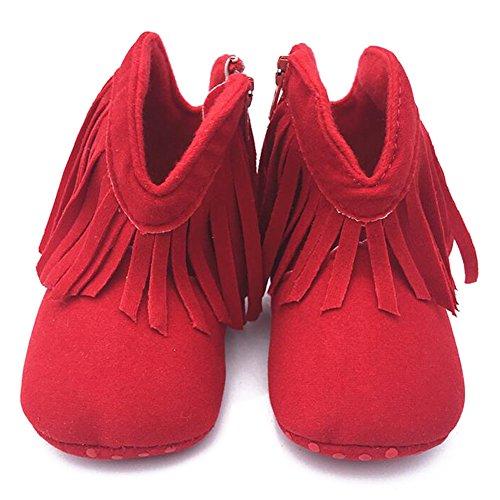 Highdas Neugeborenes Baby Boy Kinder Prewalker Fest Fringe Schuhe Säuglingskleinkind weichbesohlte Anti Rutsch Stiefel Booties Rot
