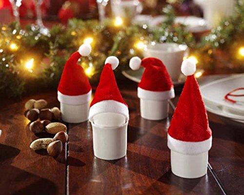 Preisvergleich Produktbild 20 Mini-Deko-Weihnachtsmannmützen Weihnachtsmützen Weihnachtsdeko ca. 11 cm hoch