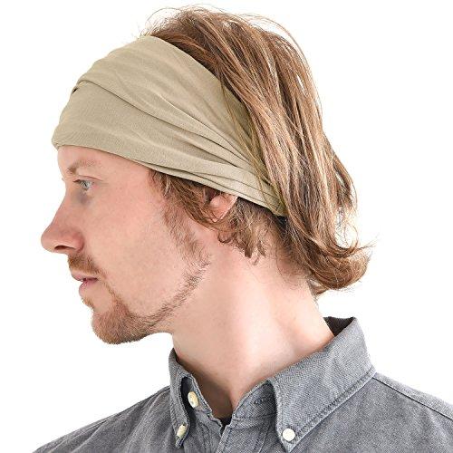 Casualbox Herren Kopf Abdeckung Band Bandana Stretch Haar Stil Japanisch Beige