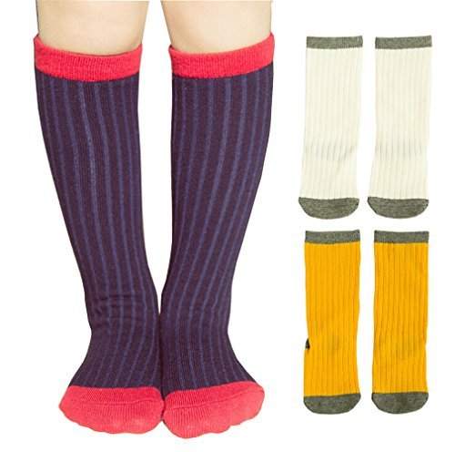 3 Pairs Little Girls' School Uniform Cable-Knit