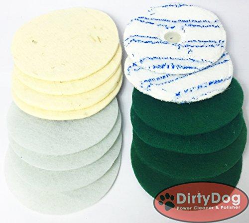 DirtyDog Sparset 14-Stück-Pad Set 2Microfaser 4xSchafwollpad 4xGrüne 4x Weiße Pads - Reinigungs und Polierscheiben