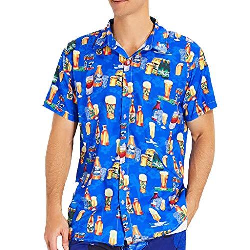 Fascino-M◕‿✦ Herren Hawaiihemd 3D Gedruckt Muster Kurzarm Aloha Freizeit Hemd Button Down Graphic Hemden Shirts -