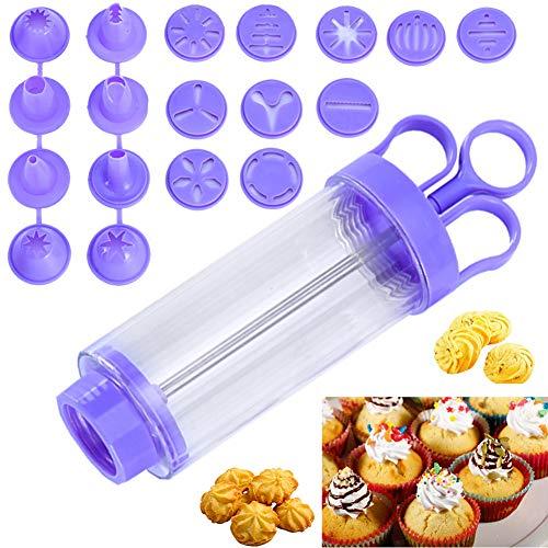 BESYZY Garnierspritze Gebäckspritze für Kuchen und Kekse Cookie-Keks Presse mit 8 verschiedenen Form-Tüllen & 10 Ausstechformen Füllvolumen: 250 ml,PP/PS,Transparent/Lila