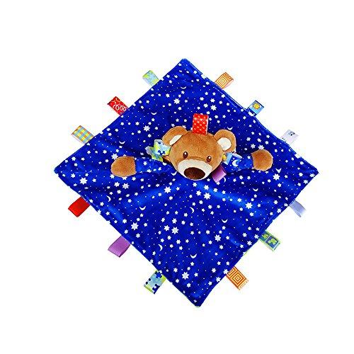 INCHNAT Kinder Plüsch Taggies Sicherheit Blanket - Bär Tag Plüschtier Built-in Bell, Bunte Taggy Blankets bestes Geschenk für Baby-Jungen und Mädchen