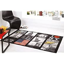 I Love NY New York US America Design Washable Black Grey Red Rug in 100 x 160 cm (3'3 x 5'3) Carpet by Lord of Rugs