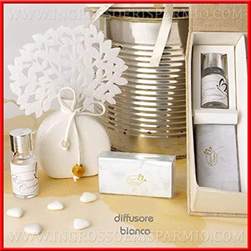 Diffusore/profumatore per ambienti a tema albro della vita bianco con base a forma di ampolla,essenza inclusa completo di scatola rivestita in tessuto - regali natalizi,pensierini per casa per nat