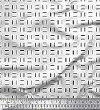 Soimoi Weiß Georgette Viskose Stoff geometrisch klein