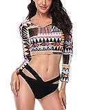 Damen gedruckt Gitter Hot Einfach Bikini Sets Push Up Badeanzüge Farben mischen Langärmelige Bikini Große Größe Badebekleidung Ge Zi2 L