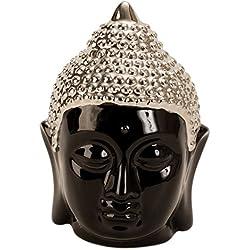 Moderna escultura cabeza de Buda hecho de porcelana en color negro/plata altura 13,5 cm