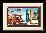 Northwest Art Mall ed-5821fgdm klare Kante/BGR Tybee Island Georgien Woodie Auto & Surfbretter, gerahmt Wand Kunst von Künstlerin Evelyn Jenkins Drew, 40,6x 55,9cm