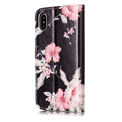 inShang Custodia per iPhone X 5.8 inch con design integrato Portafoglio, iPhoneX 5.8inch case cover con funzione di supporto. + inShang Logo pennino di alta classe Azaleas