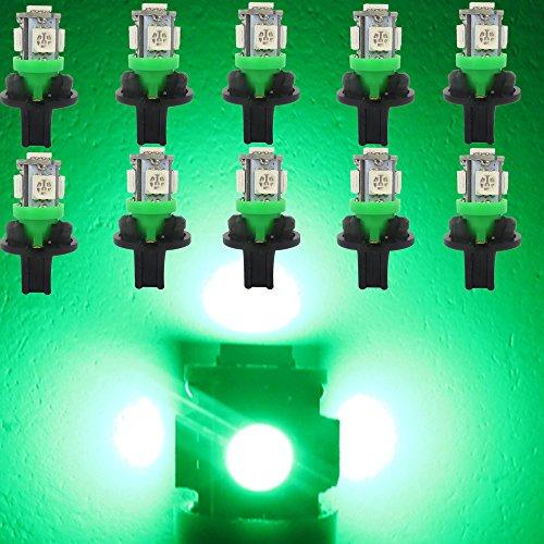 WLJH 10 Pack Vert T10 194 168 LED Cluster Instrument Lumière 5050-5SMD Remplacement pour Auto Voiture Indicateur de Vitesse Compteur Odomètre Lampe + 10 pcs Twist Lock Socket