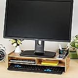 Home-Neat Stand Supporto Monitor Laptop Porta Monitor in Bambù con Organizzatore Spazio di Archiviazione per Tavolo Scrivania (47x12)