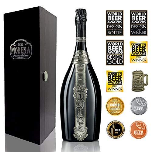 Birra morena unica - confezione regalo con cassa di legno nera da 1,5lt