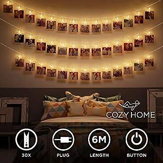 LED Fotoclips Lichterkette - 6 Meter | Mit Netzstecker NICHT batterie-betrieben | 30 LED Klammern warm-weiß | Fotoleine für Polaroid Foto | Deko Kette zum Aufhängen von Fotos | CozyHome Lichterketten