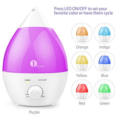 1byone 2.8 Liter Ultraschall Raumbefeuchter, Luftbefeuchter mit 7-farbige LED Lichter und Automatische Abschaltung, extra Leise -