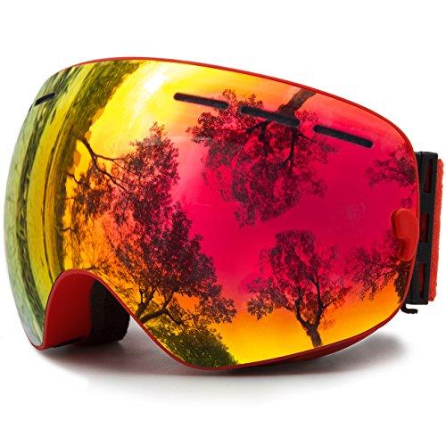 Skibrille Snowboardbrille Doppel Schicht Antifog Spherische UV Schutz Mit Abnehmbarem Objektiv Für Brillenträger Damen Herren JULI® BNC